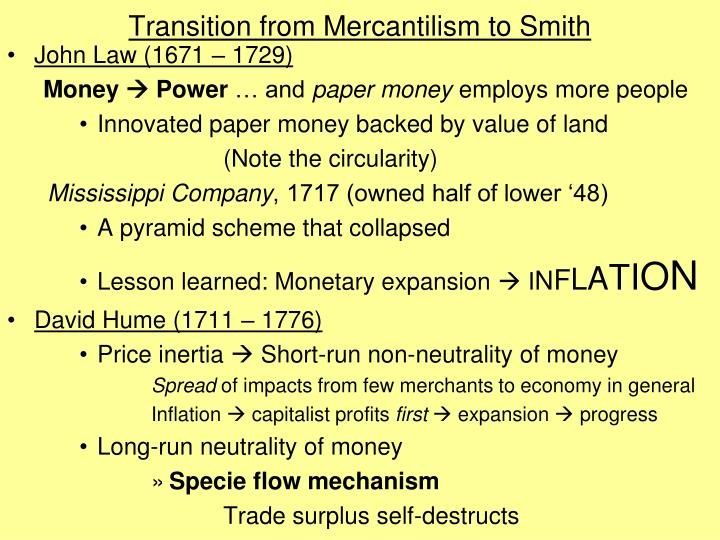Transition from Mercantilism to Smith