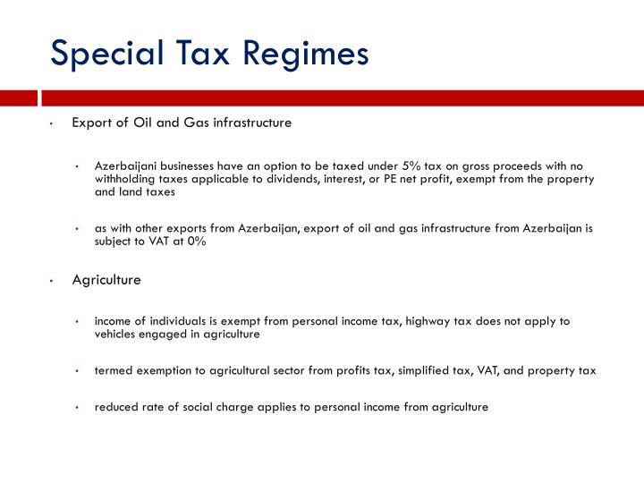 Special Tax Regimes