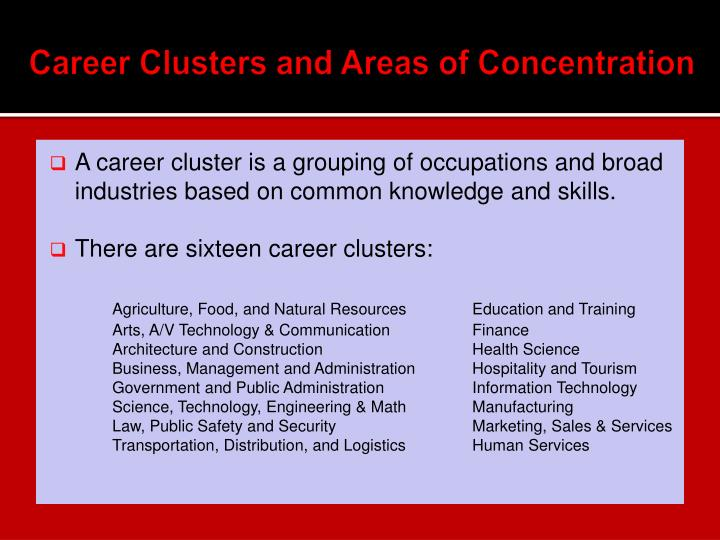 Career Clusters and Areas of Concentration
