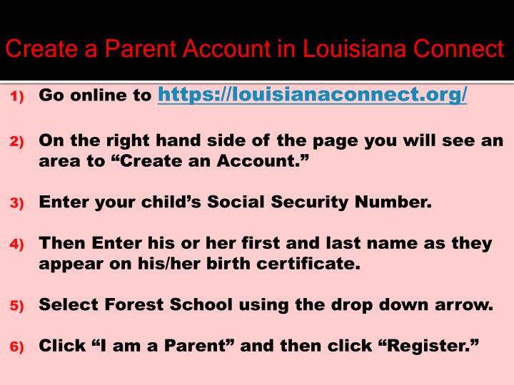 Create a Parent Account in Louisiana Connect