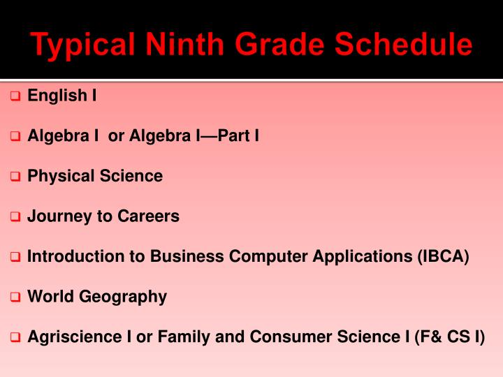 Typical Ninth Grade Schedule