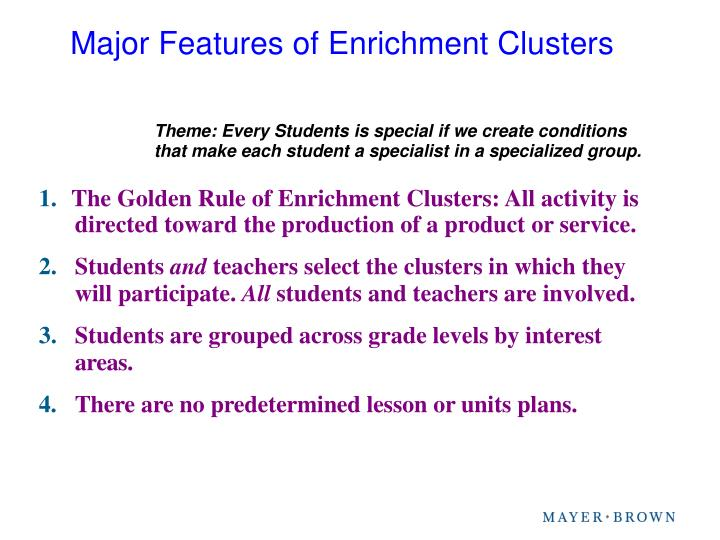 Major Features of Enrichment Clusters