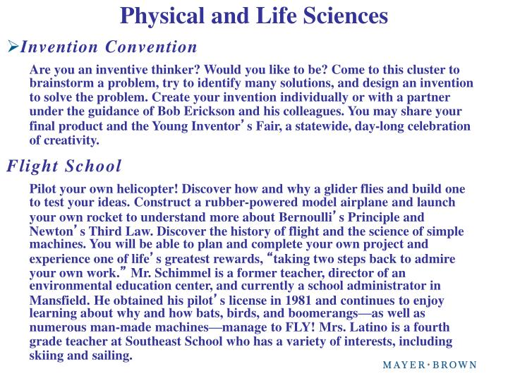 Physical and Life Sciences