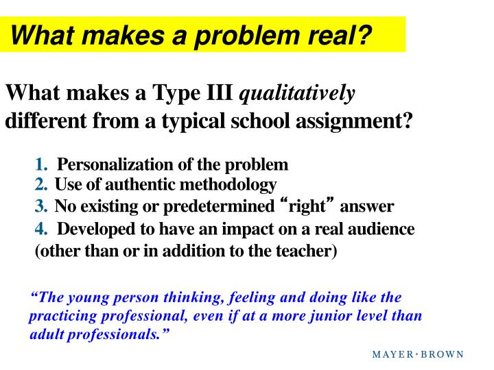 What makes a problem real?