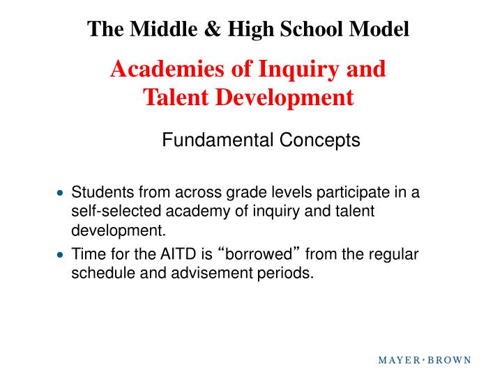 The Middle & High School Model