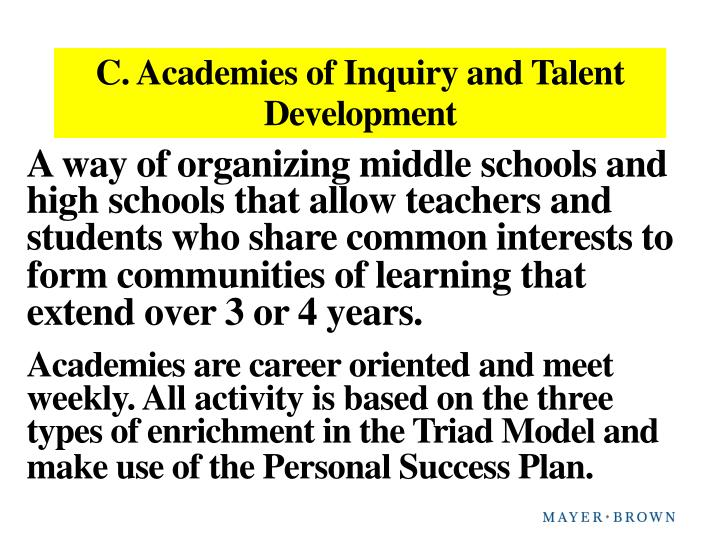 C. Academies of Inquiry and Talent