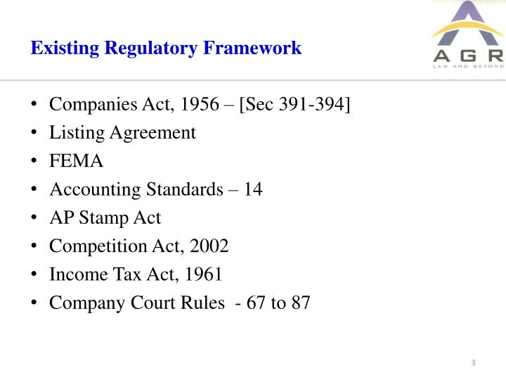 Existing regulatory framework