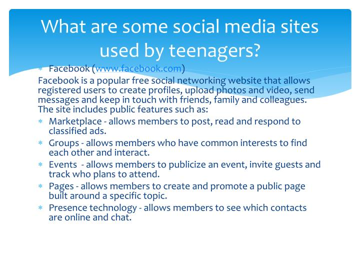 What are some social media sites used by teenagers?