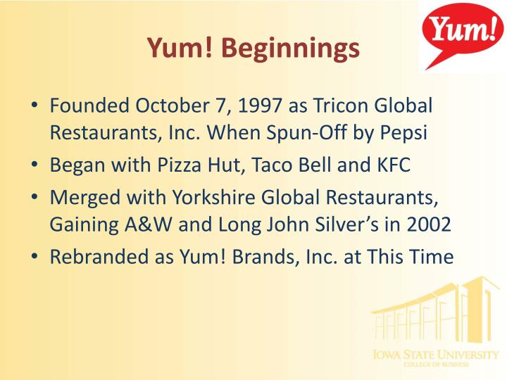 pest analysis yum brands Kfc pest analysis - food essay example yum brands provide supporting programmes needed to run a restaurant and satisfy customers.