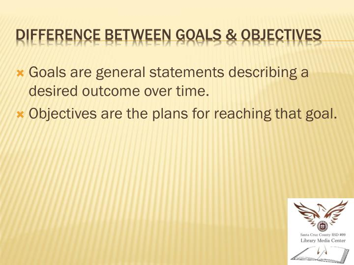 Goals are general statements describing a desired outcome over time.