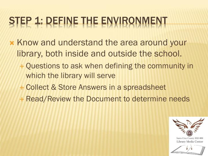 Know and understand the area around your library, both inside and outside the