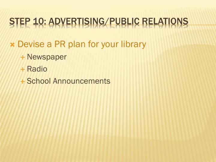 Devise a PR plan for your library