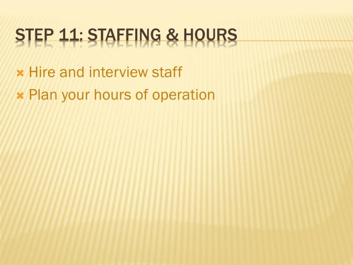 Hire and interview staff