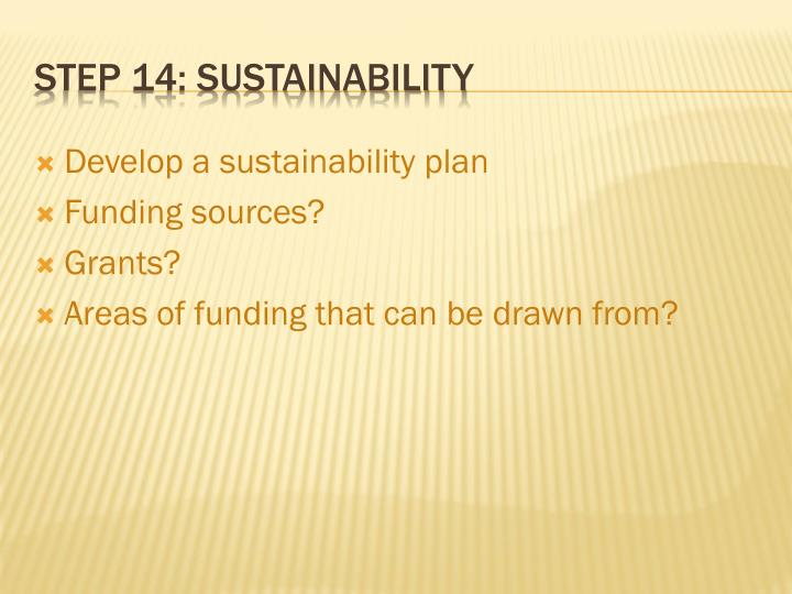 Develop a sustainability plan