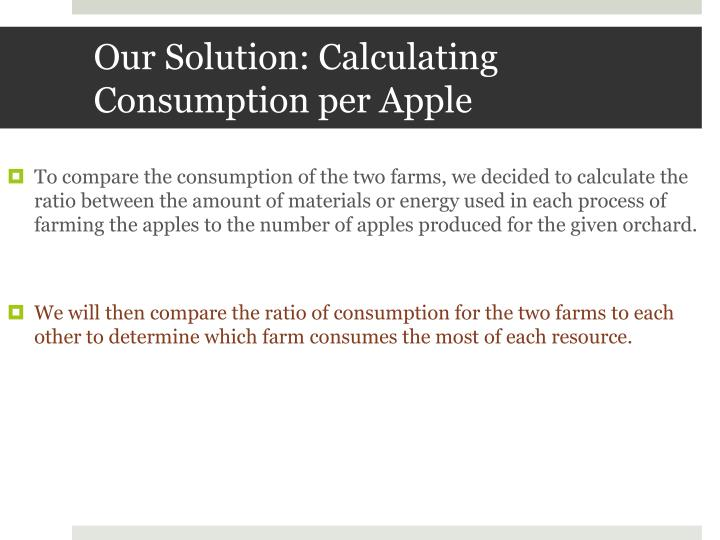 Our Solution: Calculating Consumption per Apple