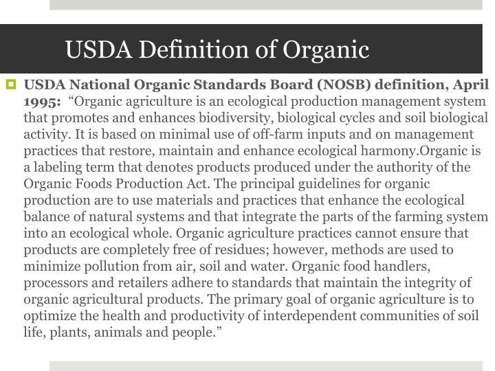 USDA Definition of Organic