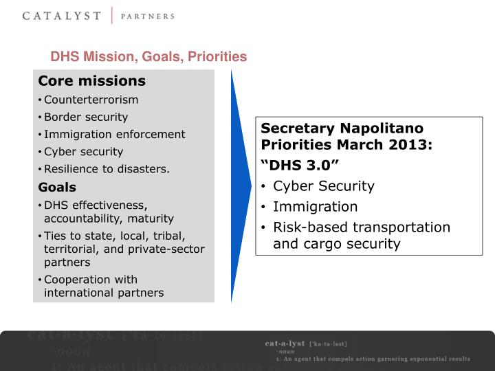 DHS Mission, Goals, Priorities