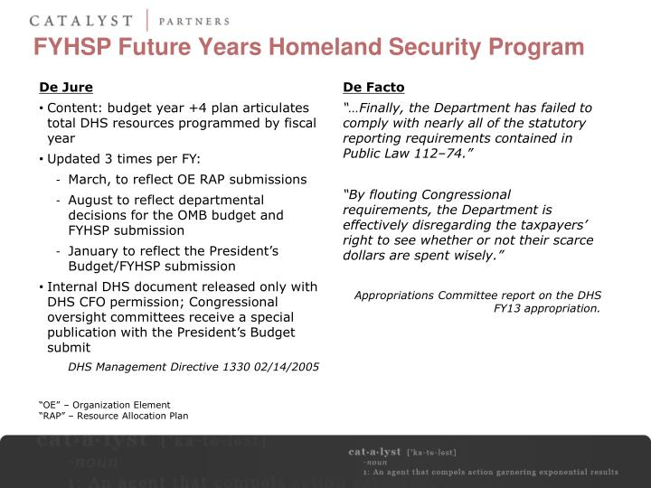 FYHSP Future Years Homeland Security Program