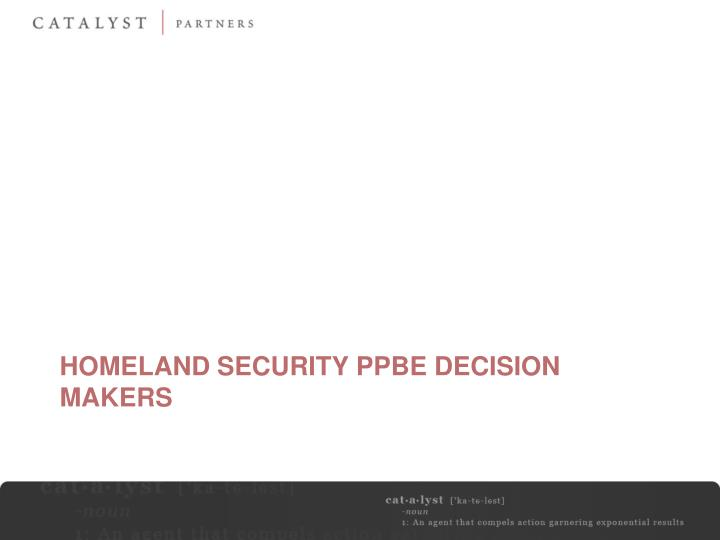 Homeland Security PPBE Decision Makers