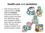 health care and sanitation