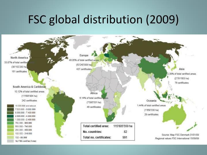 FSC global distribution (2009)