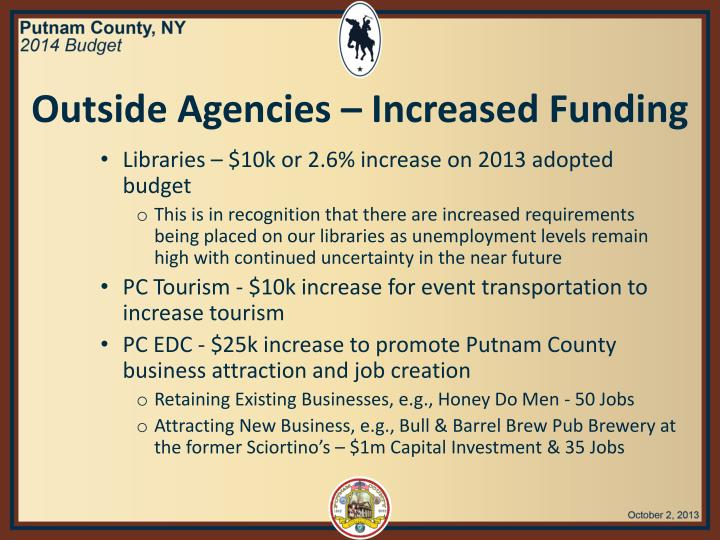 Outside Agencies – Increased Funding