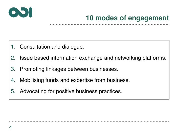 10 modes of engagement