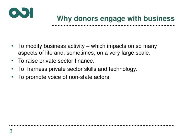 Why donors engage with business