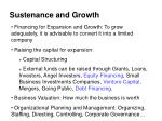 sustenance and growth