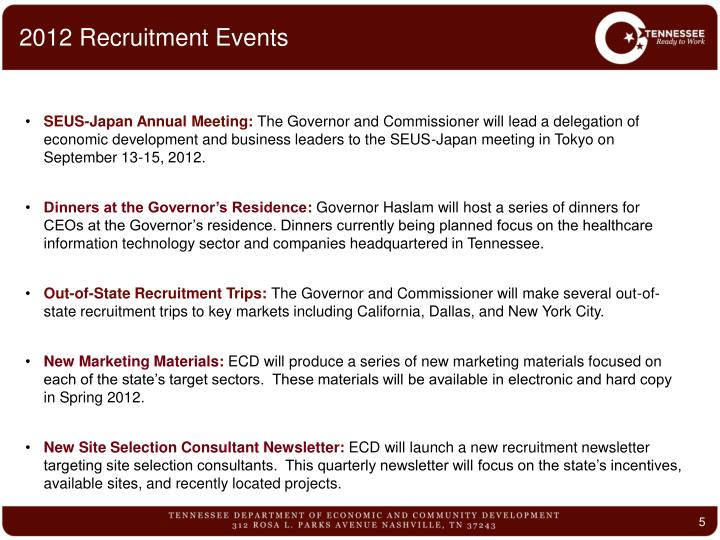 2012 Recruitment Events