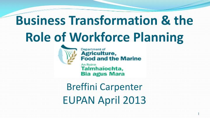 Business transformation the role of workforce planning breffini carpenter eupan april 2013