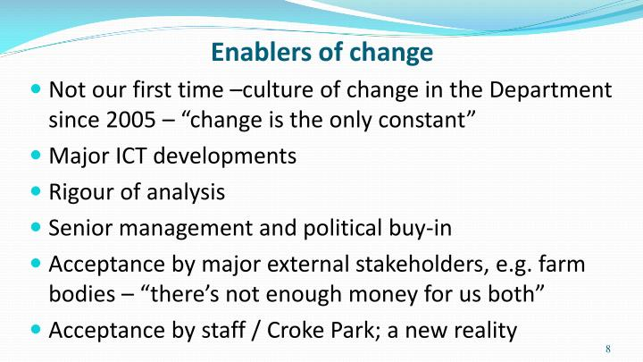 Enablers of change