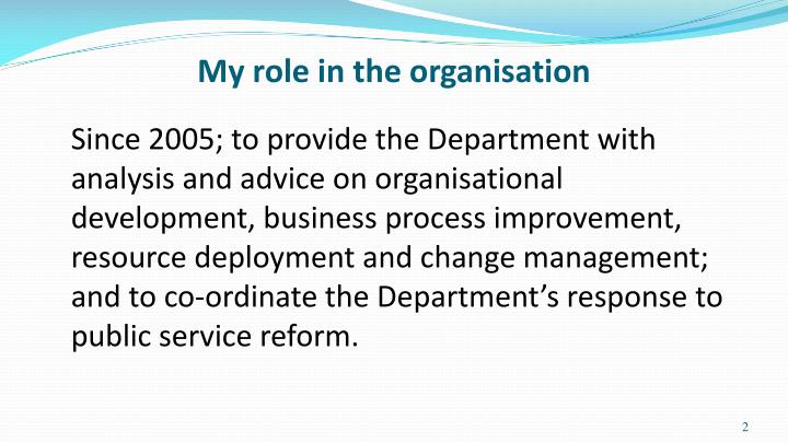 My role in the organisation