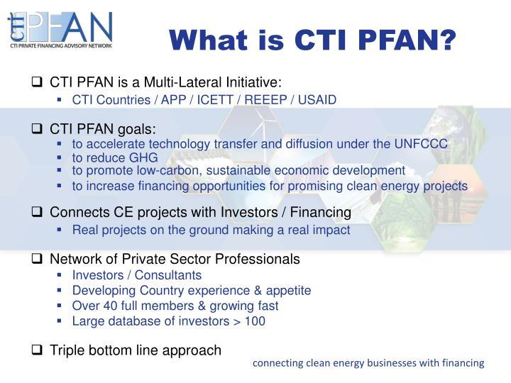 What is CTI PFAN?
