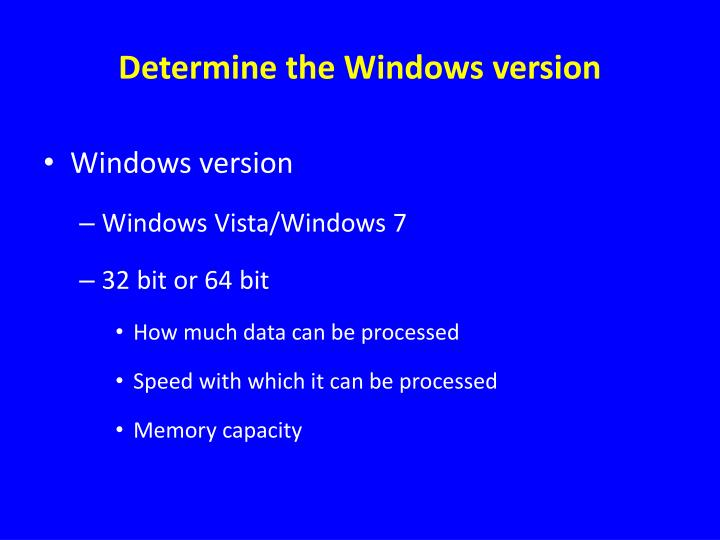 Determine the Windows version
