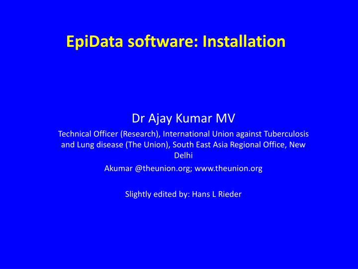 Epidata software installation