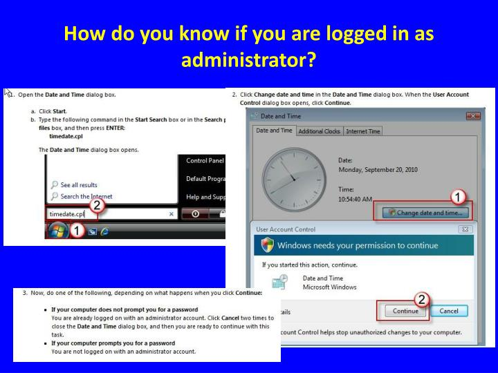 How do you know if you are logged in as administrator?