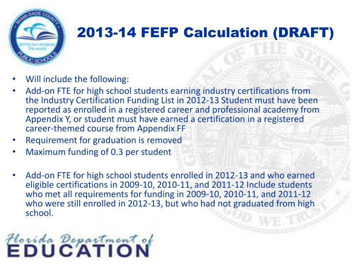 2013-14 FEFP Calculation (DRAFT)