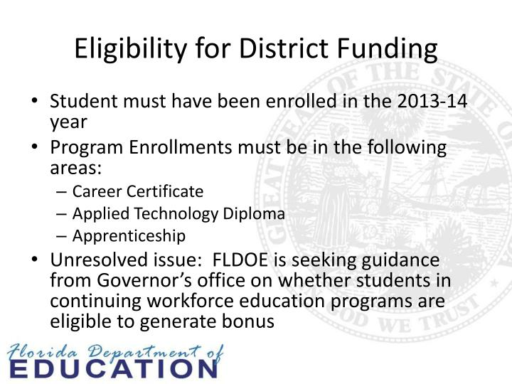 Eligibility for District Funding
