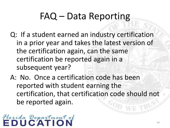 FAQ – Data Reporting