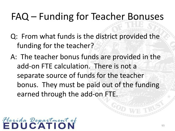 FAQ – Funding for Teacher Bonuses