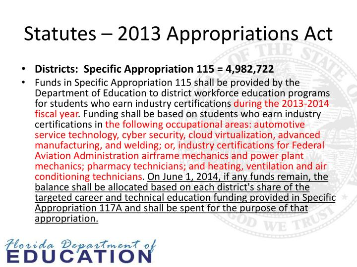 Statutes – 2013 Appropriations Act