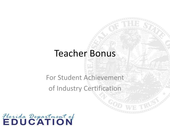 Teacher Bonus