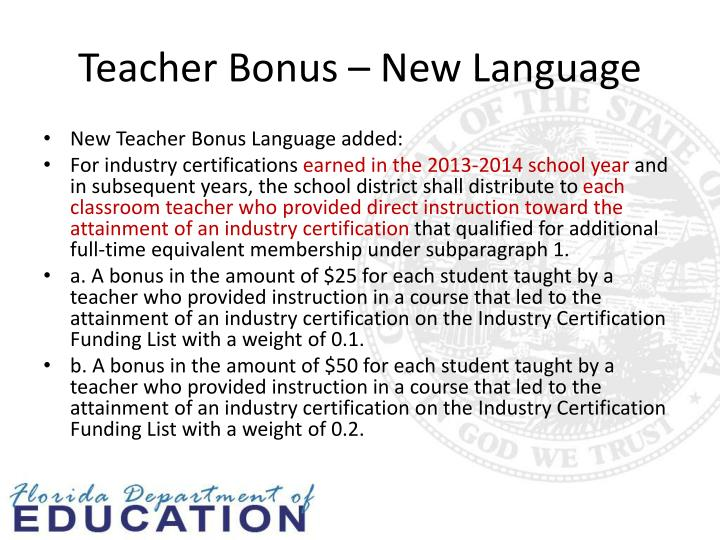 Teacher Bonus – New Language