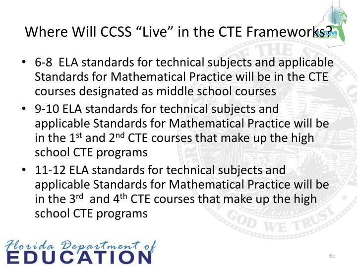 "Where Will CCSS ""Live"" in the CTE Frameworks?"