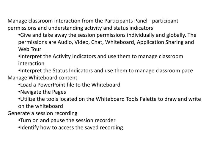 Manage classroom interaction from the Participants Panel - participant permissions and understanding activity and status indicators