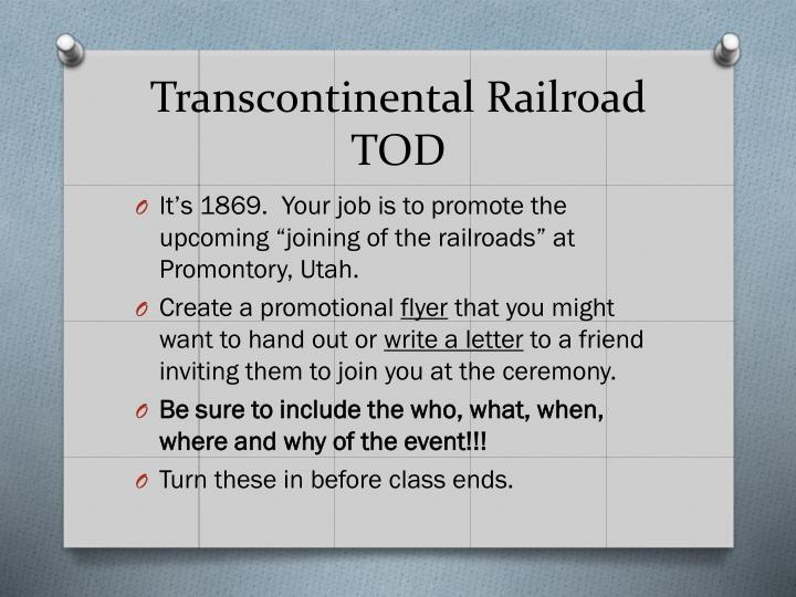 Transcontinental Railroad TOD