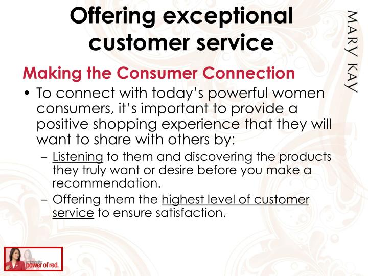 Offering exceptional customer service
