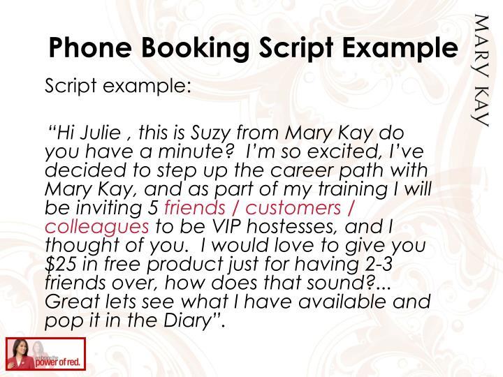 Phone Booking Script Example