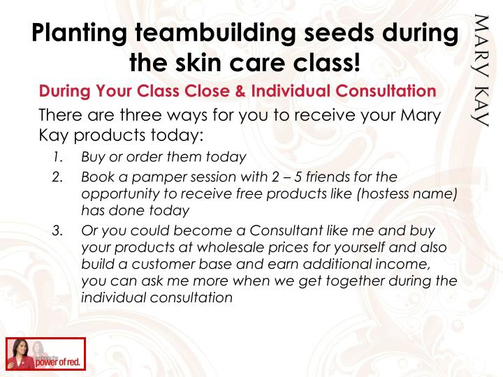 Planting teambuilding seeds during the skin care class!